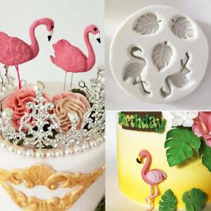 3D Flamingo Leaves Silicone Fondant Cake Mould Sugarcraft Chocolate Baking Mold