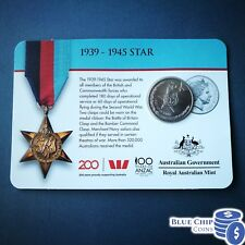 2017 20C LEGENDS OF THE ANZACS - 1939-1945 STAR COIN ON CARD
