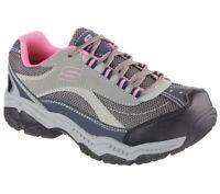 Skechers Work Shoes Gray Pink Women's Memory Foam Slip Resistant Steel Toe 76574