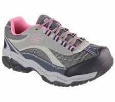 Zapatos de trabajo de SKECHERS Gris Rosa para Mujer Memoria Espuma antideslizante puntera de acero 76574