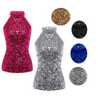 Womens Sequined Bling Halter Shiny Tank Top Sleeveless T Shirt Blouse Crop Tops