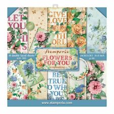 """STAMPERIA Block 10 sheets 20.3X20.3 (8""""X8"""") Double Face Flowers for You Aquarell"""