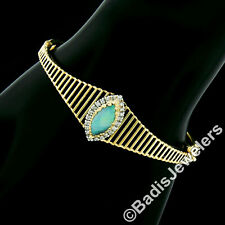 Vintage 14k Yellow Gold Marquise Opal Solitaire Round Diamond Halo Open Bracelet