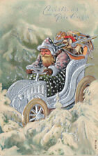 Christmas Dark Green Suited Santa Claus Driving A Automobile Embossed Postcard