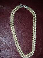 "Vintage Crown Trifari Cream Faux Pearls 2-Stand Choker 14 1/2"" Silver Tone Clasp"