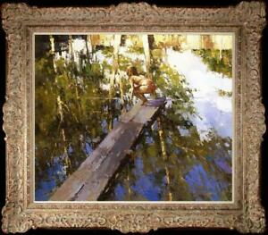"Oil painting original Art Impressionism Landscape girl river on canvas 20""x24"""