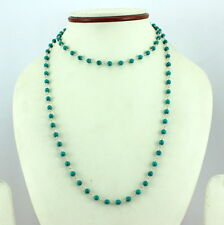 NECKLACE NATURAL TIBETAN TURQUOISE 4 MM ROUND GEMSTONE 925 SOLID STERLING SILVER