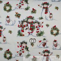 BonEful Fabric FQ Cotton Quilt VTG White Red Green Snowman Scenic Xmas Cardinal