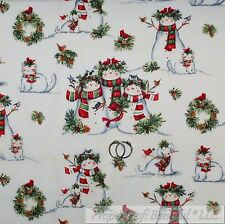 BonEful Fabric Cotton Quilt White Red Snowman Scenic Xmas Cardinal Bird US SCRAP