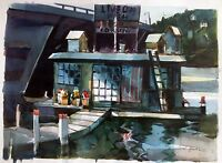 A.W.S. George R James (1932-2016) California Watercolor-Old Newport Beach