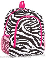 """Personalized Backpack Book Bag Zebra Black White Pink Initial(s) or Name 16""""x12"""""""