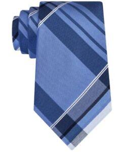 Kenneth Cole Reaction Men's Plaid Slim 3'' Silk Neck Tie, Blue