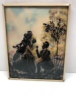 "Vintage Antique Silhouette Reverse Painting Convex Glass Picture ""The Proposal"""