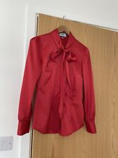 HAWES&CURTIS FITTED WOMEN'S LONG SLEEVE SATIN PUSSY BOW BLOUSE in RED size 6