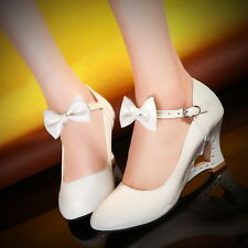 Womens Girls Sweet Candy Bow Mary Jane Wedge Heel Heart Pump ShoesPlus Size 5-10