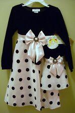 Youngland Dolly & Me Dress SET Girls Sz 5 Black Velvet Pink Satin New