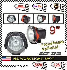"Pair 9"" 55W 12V Spot Flood HID XENON Work Light Fog Lamp UTE Offroad SUV Truck"