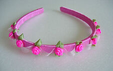 Girl's Tiara HAIRBAND Bright Pink Flowers Pink Headband Bridesmaid Wedding Party