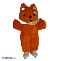 "💕10"" VINTAGE 1950'S ORANGE MOHAIR FOX BEAR WEARING ICE SKATES GREEN EYES EUC E3"