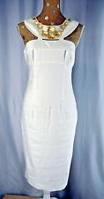Adrianna Papell Ivory Linen Blend Fitted Cocktail Dress Size 8