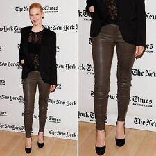 J Brand Leather Skinny Pants Trousers Brown Bronze Jeans BNWT 25 Waist