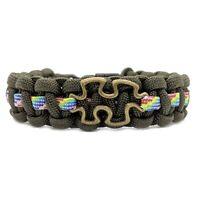 Autism Awareness Puzzle Design Paracord Bracelet Olive
