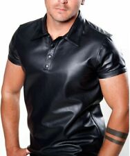 Men's Polo Shirt Style Real Lambskin Leather Soft Lederhemd Police Gay Black