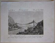 1845 PONTE DI CORDA INCA acquaforte Marmocchi Perù rope bridge puente de cuerda