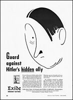 1942 Guarding Hitler's hidden ally Exide Batteries vintage art print ad S21
