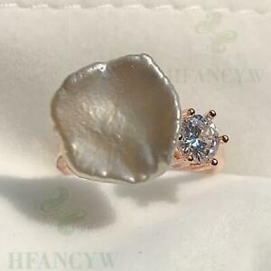 White Baroque Pearl Open Adjustable Rose Gold Zircon Ring Jewelry Hand-made