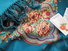 "Russian Pavlovo Posad Shawl 89cm/35"" Warm Winter Wool Floral scarf wrap kerchief"