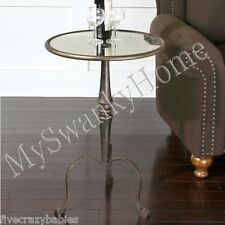Luxe Wrought Iron Bronze Accent Table Curved Legs Romantic Round Mirrored Tripod