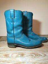 Vtg Justin's Women's Aqua Teal Turquoise Leather Western Cowboy Boots Size 7.5B