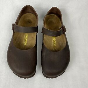 Birkenstock Shoes Mantova Brown Mary Jane Oiled Leather EUR 38 US 8 Narrow