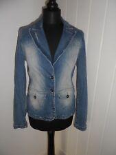 TOPSHOP MOTO Blue 90s Denim Blazer Jacket in Size 12 *EXC COND, VINTAGE*