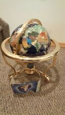 "14"" Tall Large Semi-Precious Stone World Globe on Brass Stand with Compass NEW"