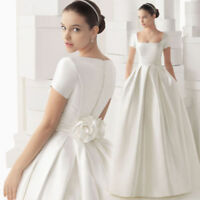 Custom Women Satin Cap Sleeve Wedding Dresses White/Ivory Bridal Gown Size 2-26+