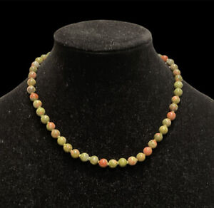 Unakite Beaded Necklace Green Pink Orange Knotted Beads Jewelry