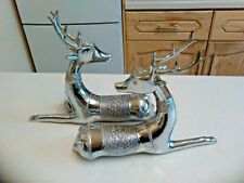 More details for pair of chrome plated metal resting sambar deer ornaments (3488)