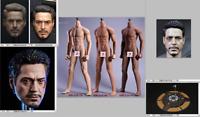 """Custom 1/6 Iron Man Tony Stark Head/Glasses/ Body  Sculpt For 12"""" Hot Toys"""