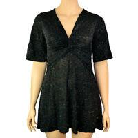EX.DEBENHAMS RED HERRING BLACK GLITTER PARTY SKATER DRESS Size 8