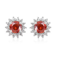Platinum Over 925 Sterling Silver Sphalerite Zircon Stud Earrings Gift Ct 1.7
