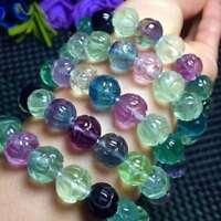 Natural Colorful Fluorite Gemstone Clear Flower Beads Woman Bracelet 10mm AAAA