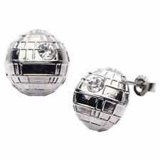 Licensed Stainless Steel CZ Rhinestone Star Wars 3d Death Star Stud Earrings