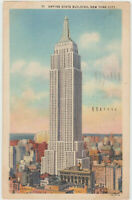 New York City, NY Empire State Building Vintage Linen Postcard NYC 1937 old card