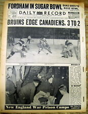 1941 newspaper w NHL Ice Hockey photo BOSTON BRUINS defeat MONTREAL CANADIENS