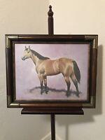 Vintage Darol Dickinson Horse Print Equestrian Art Buckskin Quarterhorse Framed
