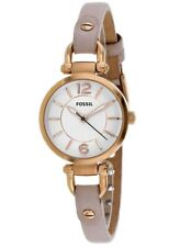 Fossil Georgia 26mm Luminous White Dial Beige Leather Women's Watch ES4340 SD