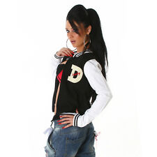 NEW SEXY FUNKY DIVA COLLEGE BASEBALL JACKET COAT 10 - 12  ❤ BLACK ❤ GLOSSI