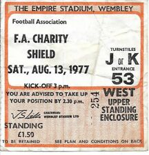 MANCHESTER UNITED V LIVERPOOL FA CHARITY SHIELD 1977 MATCH TICKET